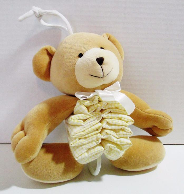Carters Just One Year Musical Plush Brown Bear - Yellow Gingham Accordion Body