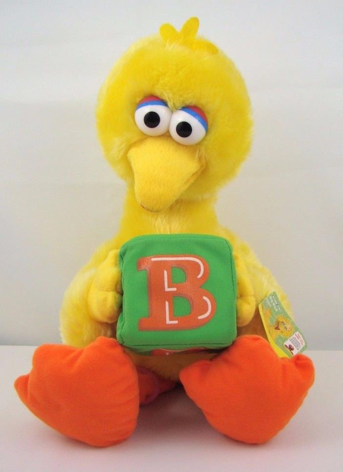 Sesame Street Big Bird Plush Holding Green Block with Tag 2006 21 Inches Tall