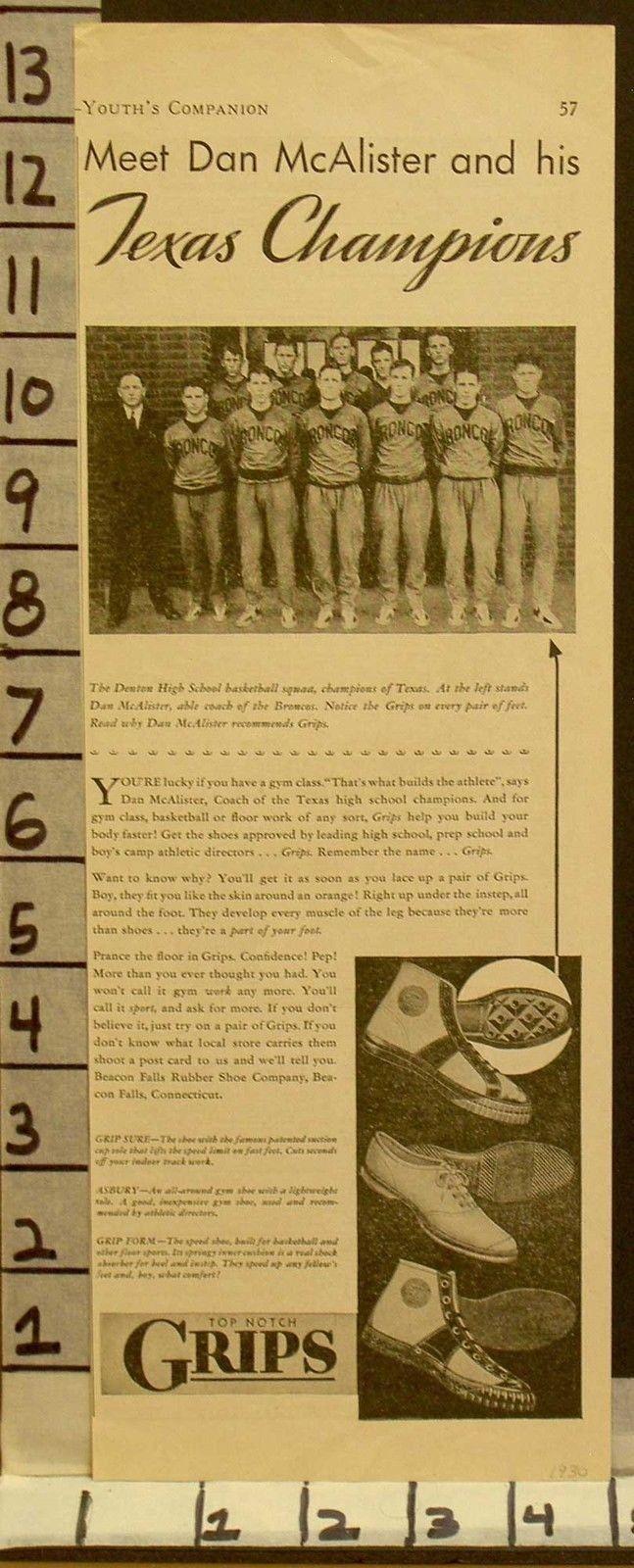 1930 BEACON FALLS SPORT SHOES DAN MCALISTER TEXAS BASKETBALL DENTON  23123169