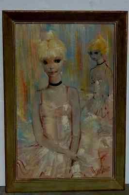 Mid Century Impressionist  Oil Painting Ballet Dancer Ballerinas