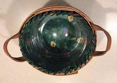 Longaberger Round Basket with Liner, 1992, Excellent