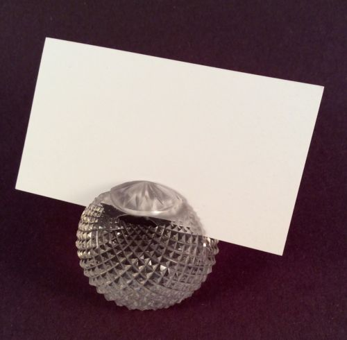 Vintage Round Cut Glass Crystal Place Card Menu Holder