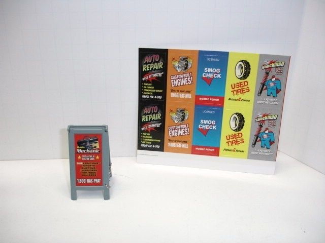 1:24 Scale  Garage Sign for Ads Plus 10 Stickers, Is What Your Bidding On Today.