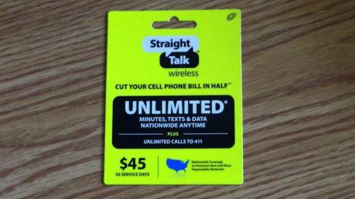 Straight Talk Refill 30-Days Unlimited $45 Prepaid Service