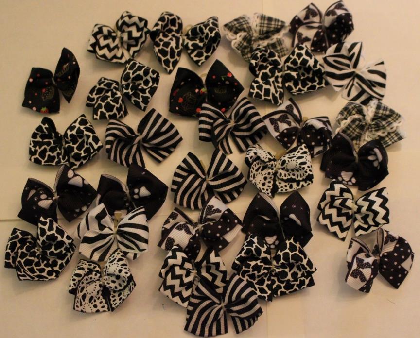 30 Black & White sm Dog Bows Grooming Bows Top Quality Ribbons USA Maltese Child