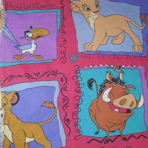 Disney Lion King Vtg Twin size Flat Sheet bright Simba Nala fabric craft 90s