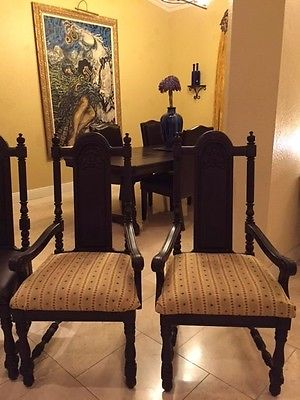 Antique (SET OF 2) Solid Oak Jacobean Dining/Accent Armchairs (circa 1930s