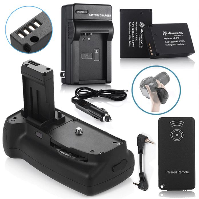BG-E100 Battery Grip For Canon EOS 100D Rebel SL1 + 2 LP-E12 Batteries + Charger