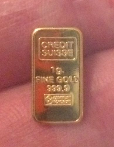 1 Gram 999.9 Fine Gold Credit Suisse Bullion Bar
