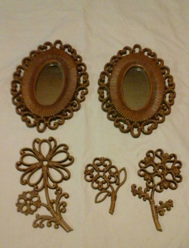 Home interior wall decor mirrors flowers brown