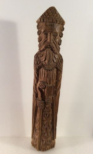 Hand Carved 14 Inch Man With Cane Initials On Bottom NG