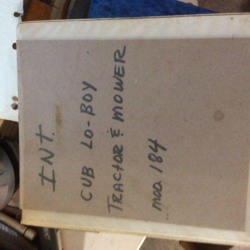 Cub Lo Boy 184 Service And Parts Manuals Farmall Ih