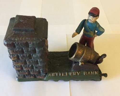 Vintage Cast Iron Working Mechanical Artillery Coin Bank Reproduction Unrestored