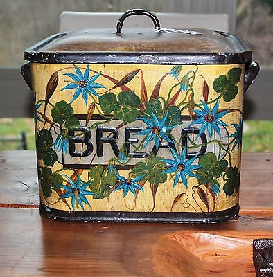 Large Vintage Hand Painted Enamel Bread Box