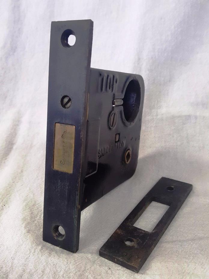 Vintage SARGENT Brass Face Plate Bolt Lock & Strike Plate w/o CYLINDER & KEY