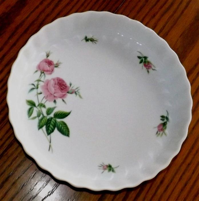 Christineholm Porcelain Pink Rose Pattern Fluted Tart Quiche Pie Dish Plate Pan