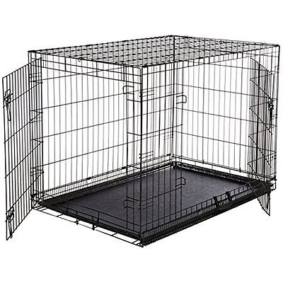 Basics Double-Door Crates Kennels Folding Metal Dog Crate - Large (42x28x30