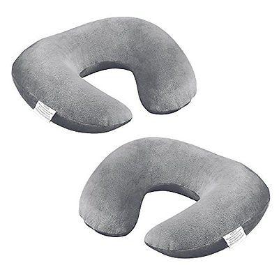 Travel Pillows Plemo Inflatable Travel Neck Pillow, U-Shaped Velvet Back Support