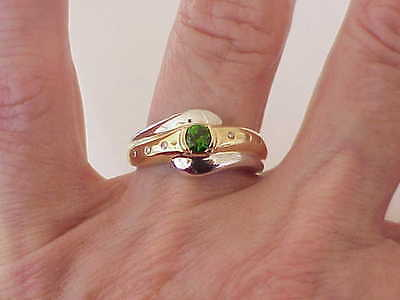 14K WHITE & YELLOW GOLD DIAMOND & TSAVORITE GARNET RING SZ 7 10 MM WIDE 0