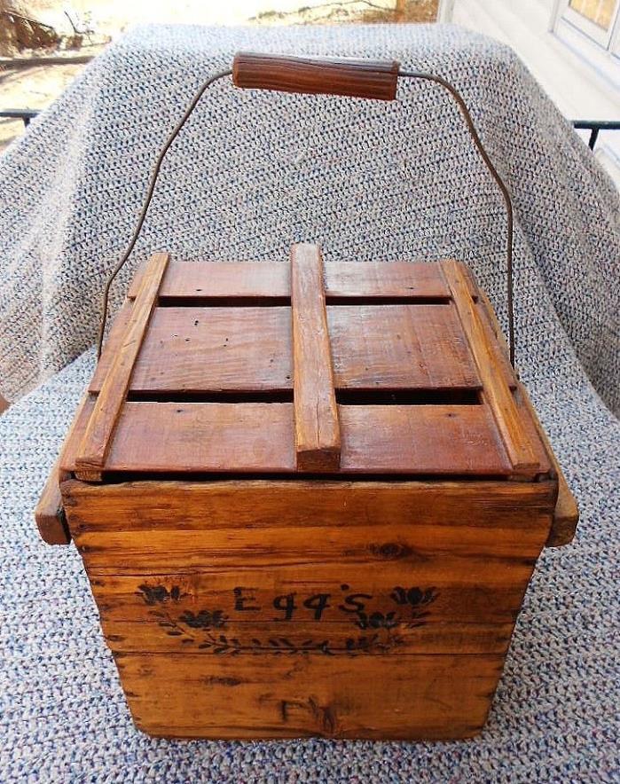 Antique Primitive Americana Farm Folk Art Chicken Egg Crate Vintage Wood Box VGC