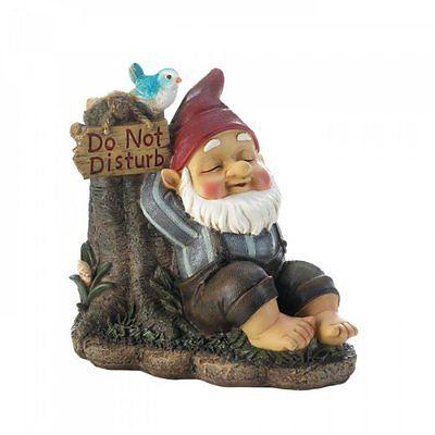 Do Not Disturb Gnome Elf Statue w Bird Garden Yard Lawn Patio Outdoor Decor