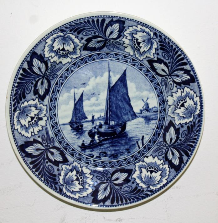 Vintage Delfts Blue Boch Plate Sailboats Wall Hanging 9 +