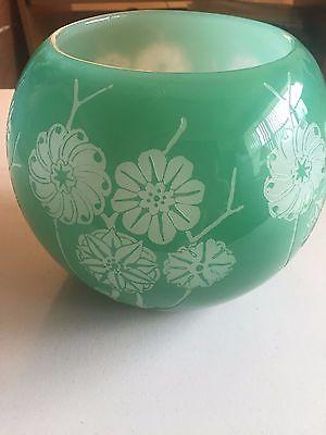 Carder Steuben Acid Etched Green Floral Vase