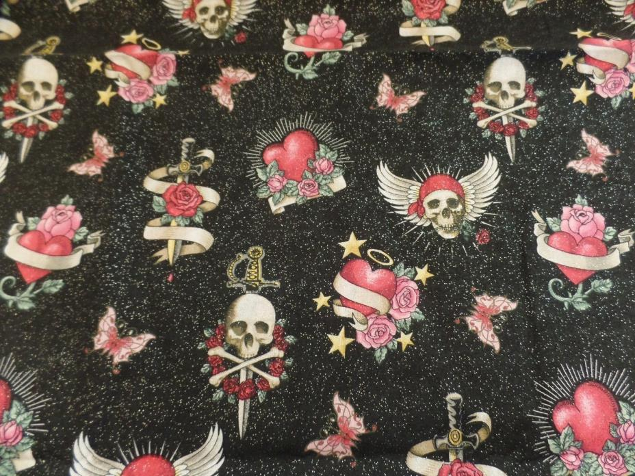 2 YDS BLACK w/ SPARKLES SKULL ROSES HEART TATTOO COTTON QUILTING FABRIC