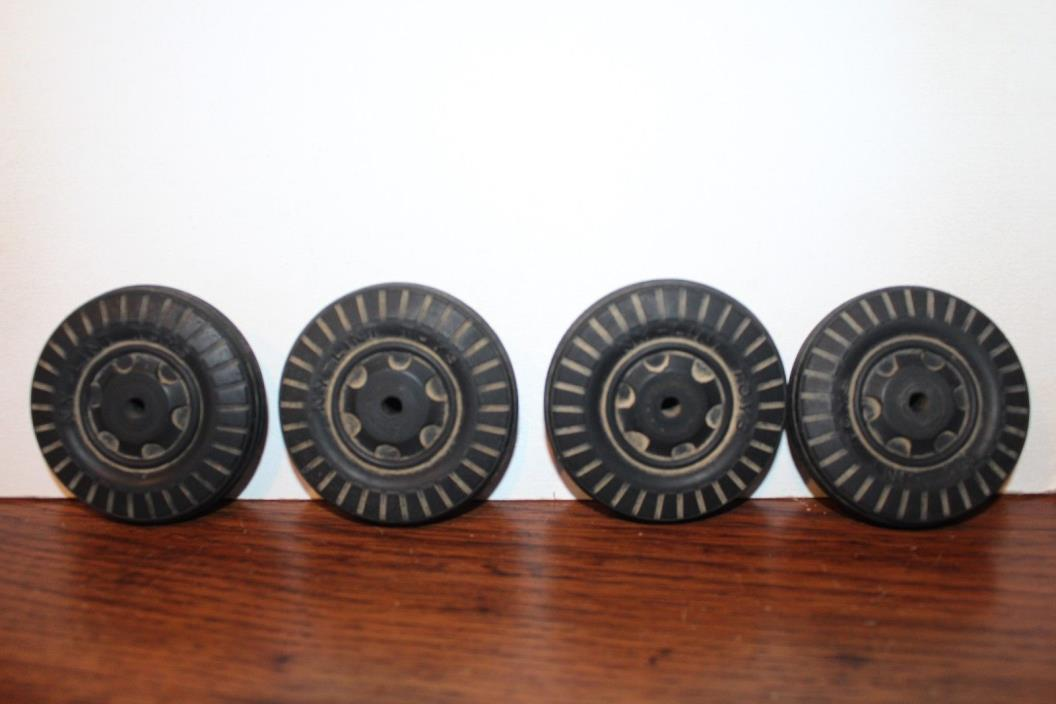 FOUR VINTAGE NYLINT 1950'S OR 1960'S RUBBER TIRES WHEELS FOR  TRUCK