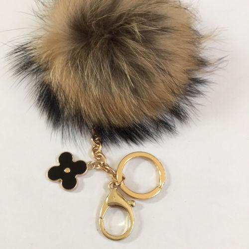 Fur pom pom keychain, bag pendant with flower clover charm natural no dye color