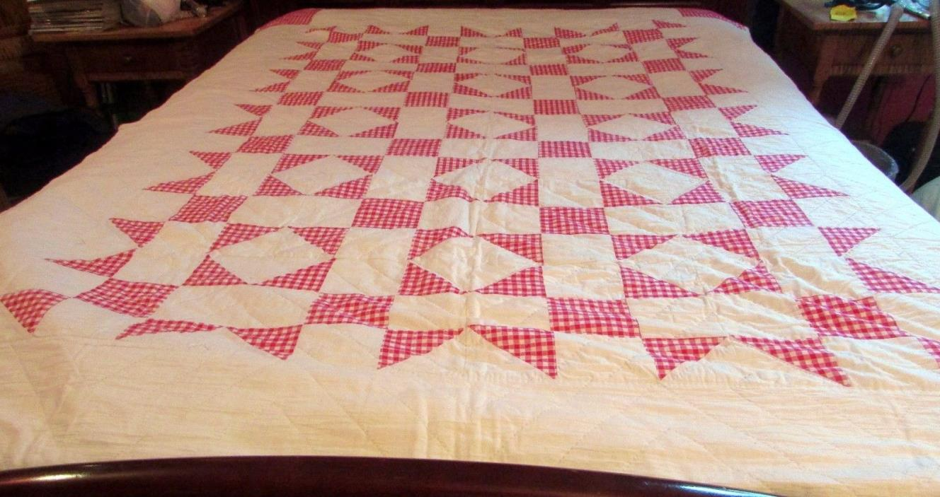 LOVELY HAND SEWN RED AND WHITE QUILT