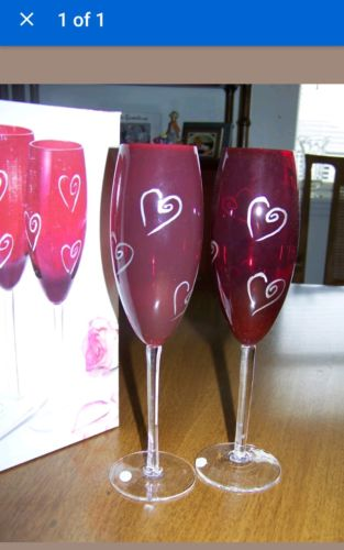 Vintage Hand Painted Champagne Flutes