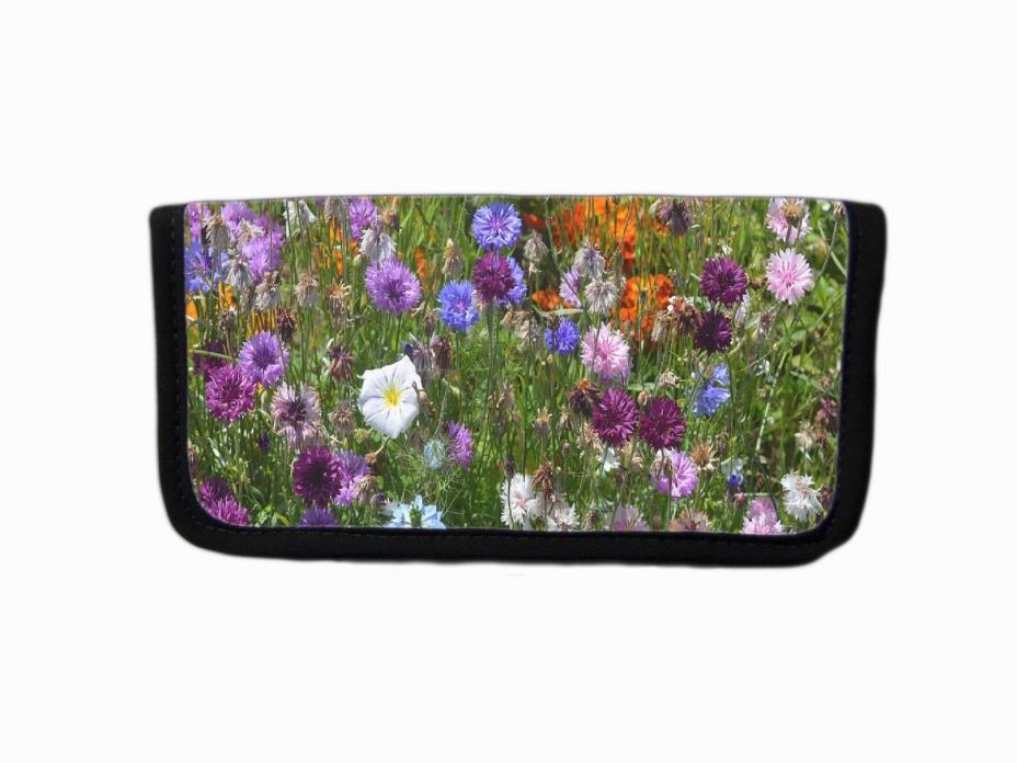 MOUNTAIN WILDFLOWERS FLORAL LANDSCAPE IMAGE FABRIC CHECKBOOK COVER HOLDER