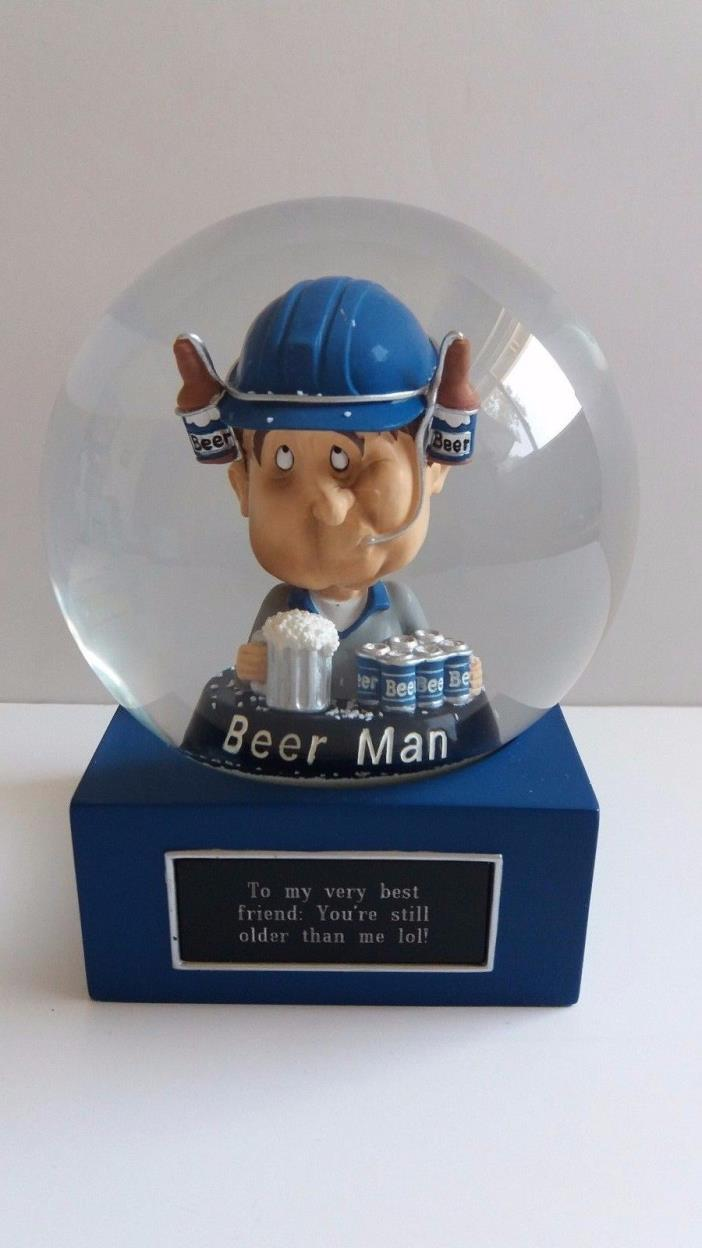 Things Remembered BEER MAN 6-Pack Bobblehead Snow Globe ~ Engraved