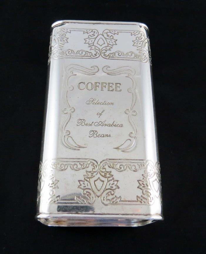 Vtg SILVER PLATE COFFEE TIN/CANISTER - AIR TIGHT
