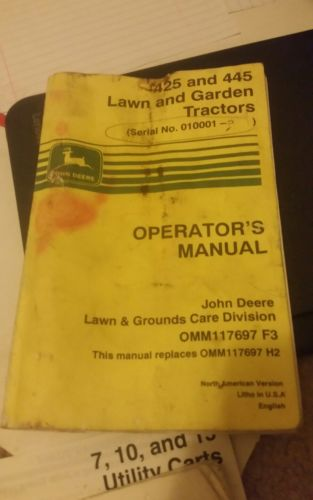 John Deere 425 and 445 Lawn Garden Tractor Operator Manual