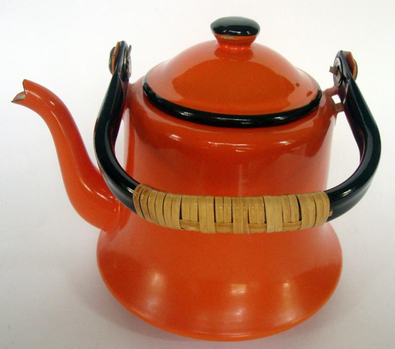 Orange namel teapot Japan straw handle mid century vintage coffee