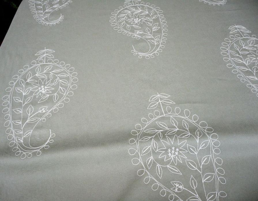 Waverly Paisley Embroidered Drapery Upholstery Fabric Denim Dress Up Twill Tan