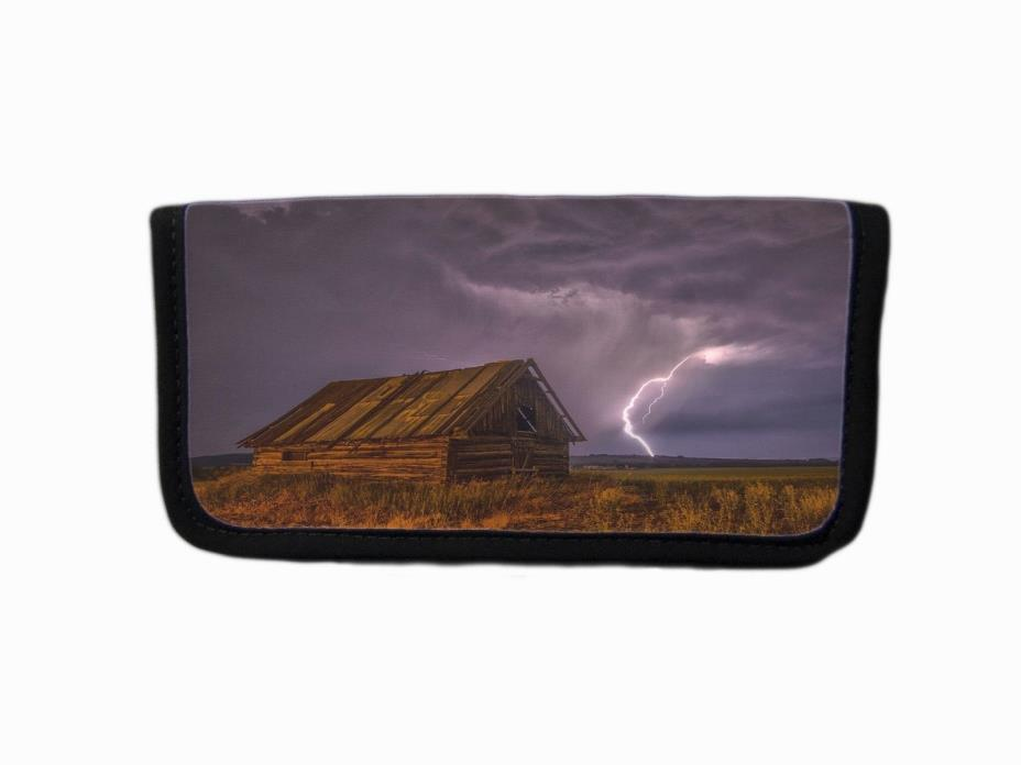 MIDWEST PRAIRIE STORM & BARN IMAGE FABRIC CHECKBOOK COVER HOLDER