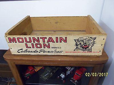 vtg. Mountain Lion wooden peach crate