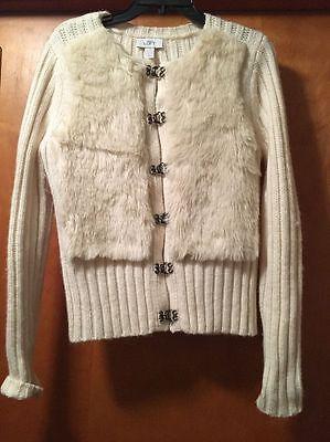 Women's Cream Ann Taylor LOFT Faux Fur Sweater Size Large