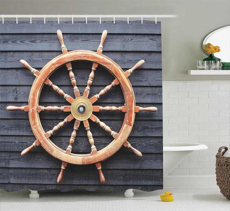 Ambesonne Ships Wheel Decor Collection, Old Trawler Steering Wheel Captain Direc