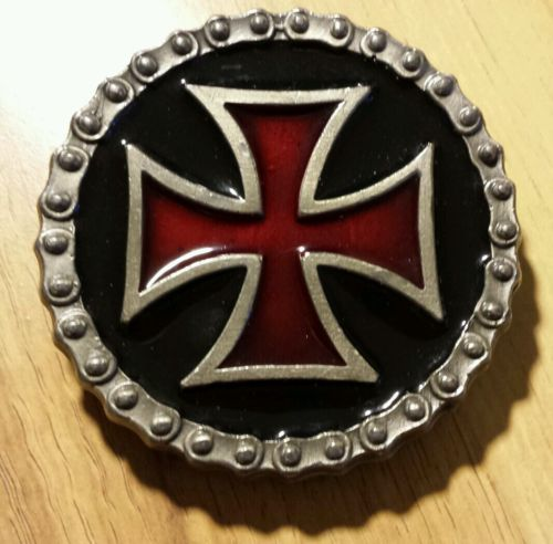 Belt Buckle - Red Iron Cross on Black with Chain