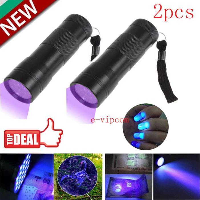 2PCS UV Ultra Violet 21 LED Flashlight Mini Blacklight Aluminum Torch Light Lamp