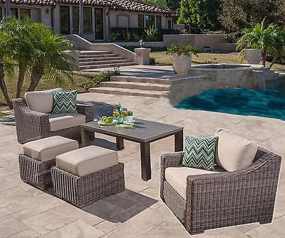 5pc Sunbrella Outdoor Club Chairs Patio Set Furniture Deep Seating & Table