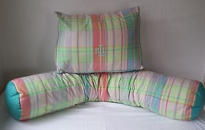 2 Ralph Lauren Lg Bolster Body n Back Pillow `Pastel University Shirting Plaid
