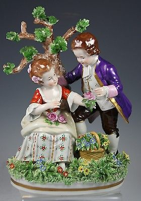 Sitzendorf Germany Porcelain Dresden Lace Figurine Girl And Boy