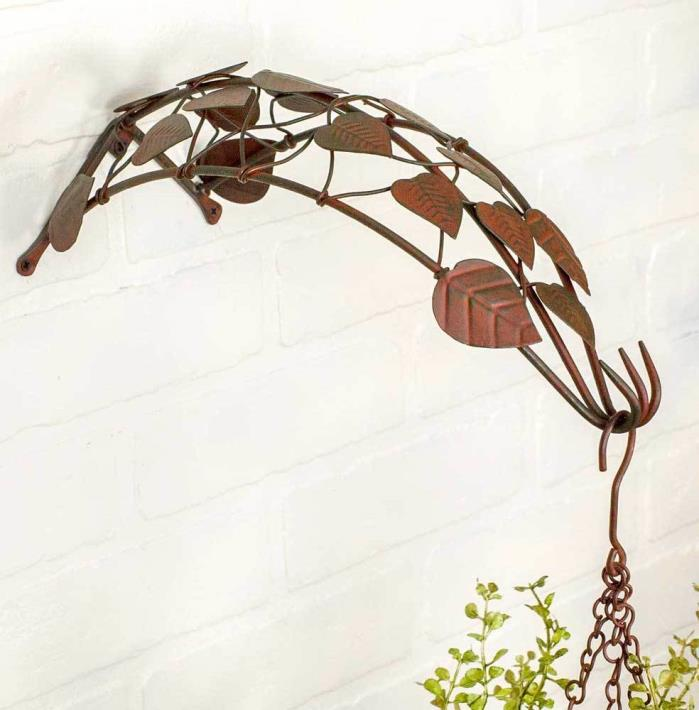 sku#840049 Vine Plant Hook with decorative leaf pattern, metal construction