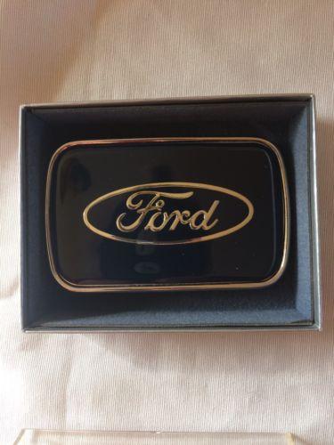 Vintage R.J. Roberts & Co. Ford Logo Belt Buckle Silver on Navy Frame USA