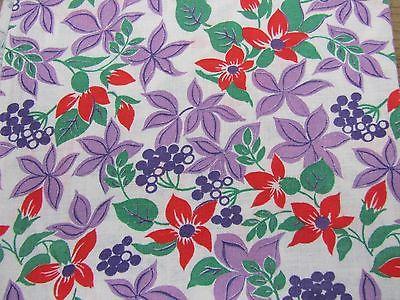 Vintage Feedsack Fabric - Purple Orange Florals  - Sewing Quilting